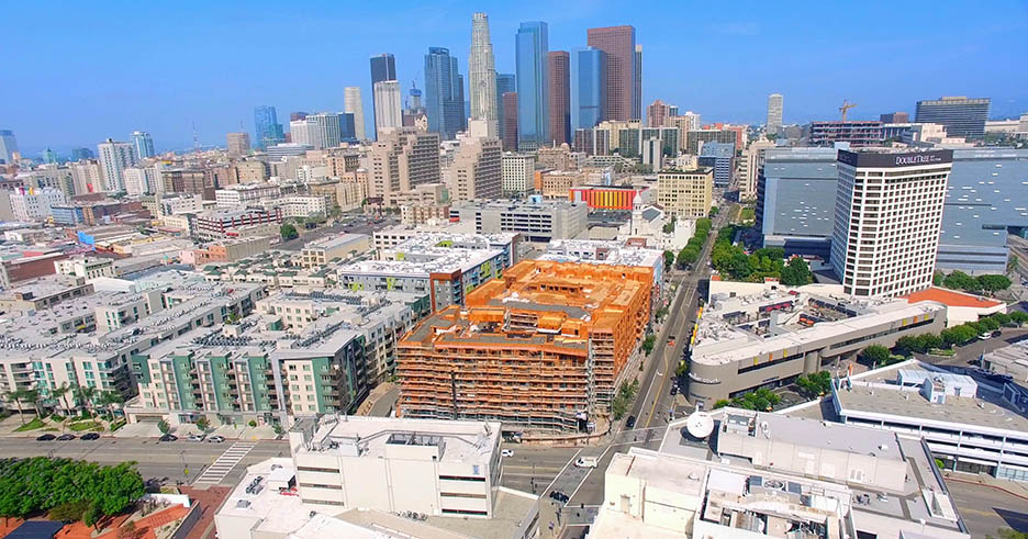 Aerial Drone Video Footage of Los Angeles Downtown